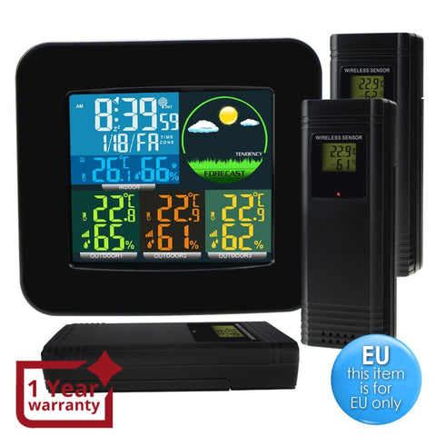 Wea-47_Eu Digital Weather Station Rcc Dcf With 3 Indoor/ Outdoor Wireless Sensors 6 Kinds Of