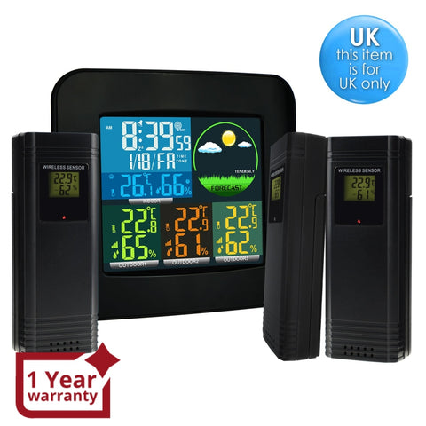 Wea-47_Uk Digital Weather Station Rcc Msf With 3 Indoor/ Outdoor Wireless Sensors 6 Kinds Of