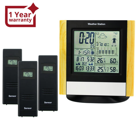 Ws-103_3S Weather Station 3 Wireless Sensors Wwvb Dcf Radio Controlled Clock Thermometer Alarm