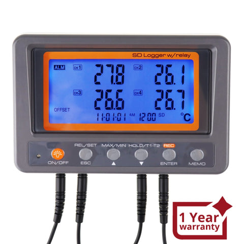88597 Digital 4 Channels Thermometer NTC Thermosistor Probe SD Card Logger with Relay Function Data Logging Big LCD Display