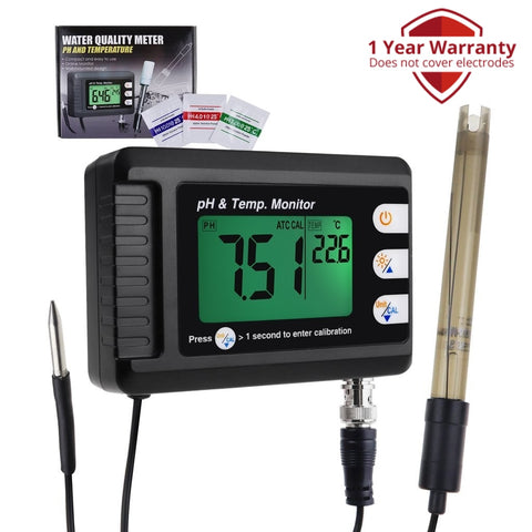 PHM-295 2-in-1 Combo pH & Temperature Meter Fish Tank Monitor Thermometer Replaceable BNC pH Electrode for Aquariums Hydroponics Aquaculture Laboratory