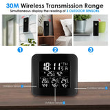 WEA-288 Digital Wireless Weather Station Indoor Outdoor Temperature and Humidity Measure Hygrometer 3 Sensor, °C/°F Black LED Light Display, Alarm Clock Function