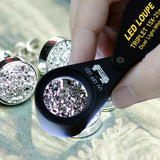 Gem-247 15X 21Mm Optic Glass Loupe 6 Led & Uv Light Magnifier Jeweler Foldaway Pocket Black Frame