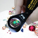 Gem-249 30X Magnification Jewelry Gem Loupe With Uv & 6 Led Light 21Mm Optical Glass Achromatic