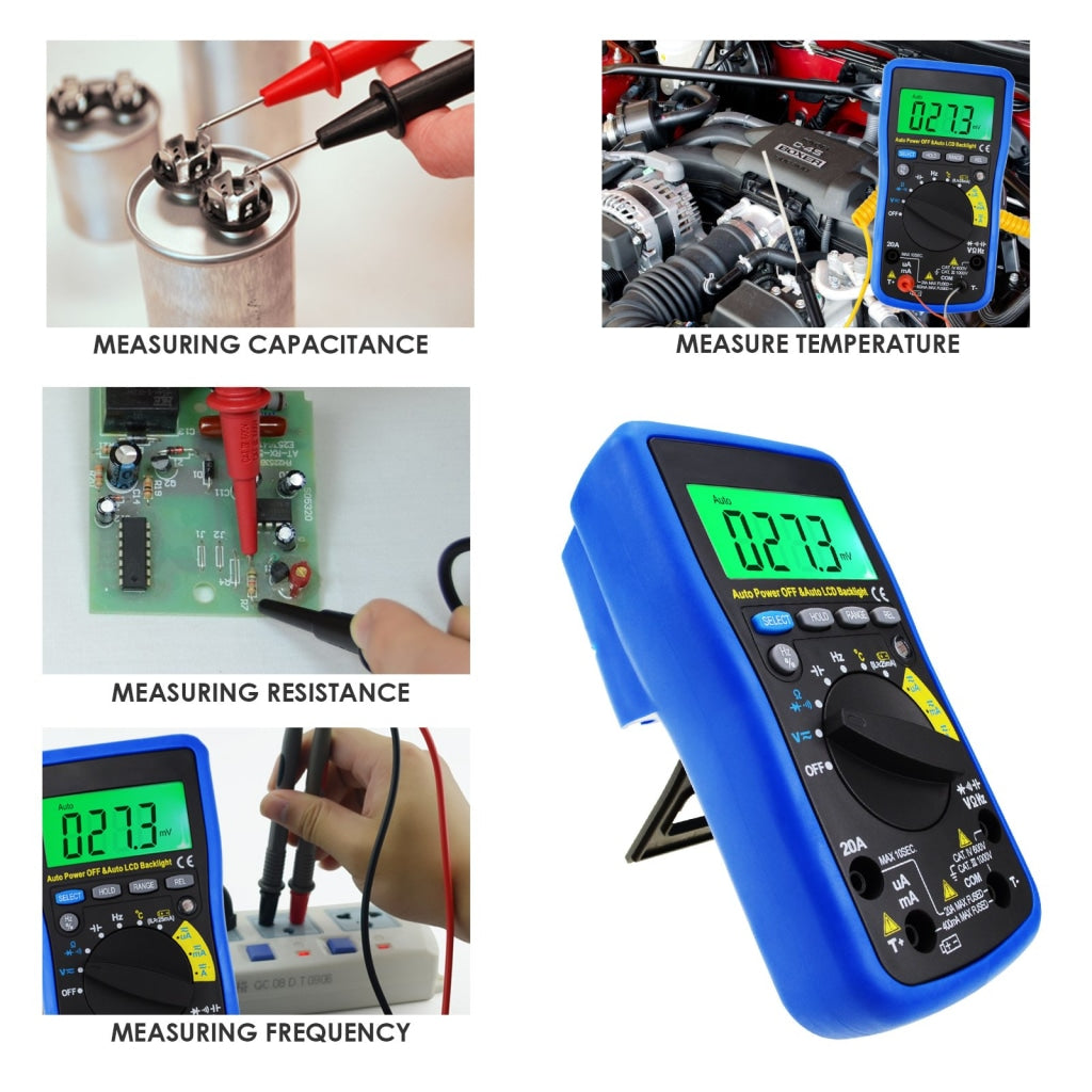 MUL-210 Digital Auto Range Autoranging DMM Multimeter - DC AC Amp Volt Ohm  Frequency Capaitance Temperature Meter Battery Tester, with Auto LCD