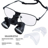 DL-025 2.5x Magnification Dental Loupes, Galilean Style Titanium Frame, Dental Surgical Medical Binocular, 100mm Field of View + 90mm Depth of Field +420mm Working Distance, Flip-Up Function Flexible Optical Glass Loupe Dentistry - Gain Express