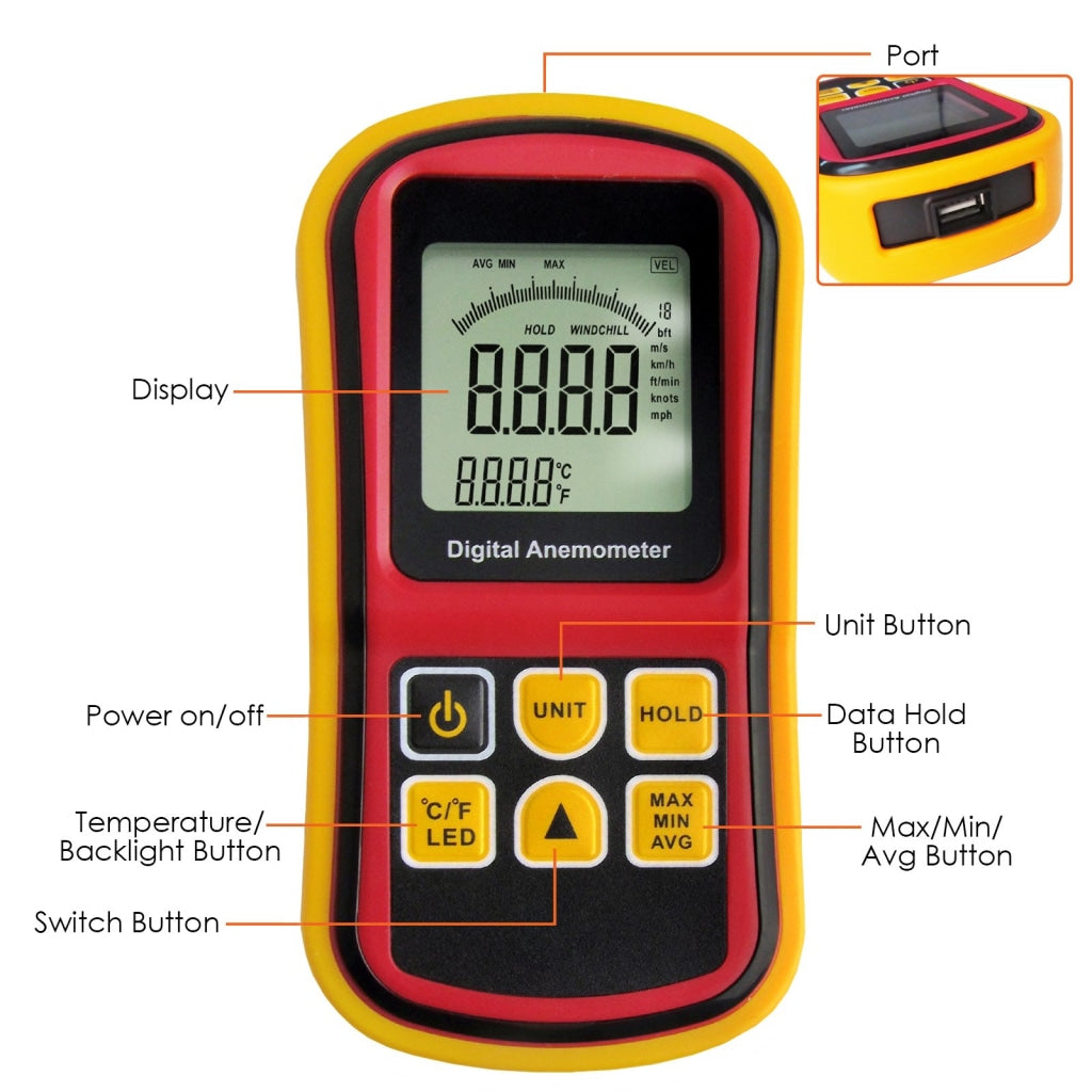 AM-8901 2-in-1 Digital Thermo-Anemometer, Air Flow Wind Speed Meter, 5  parameters (m/s, km/h, ft/min, knots & mph) with Thermometer Temperature,