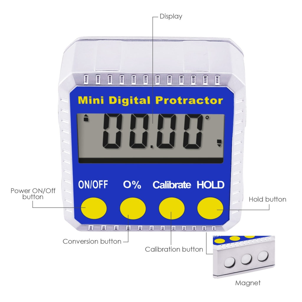810-100 Digital Bevel Box Inclinometer with Magnets & Always