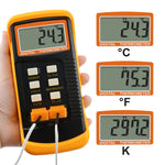 68022 Digital 2 Channels K-Type Thermometer 2 Thermocouples -50~1300°C (-58~2372°F) Handheld High Temperature Kelvin Scale Dual Measurement Meter Sensor - Gain Express