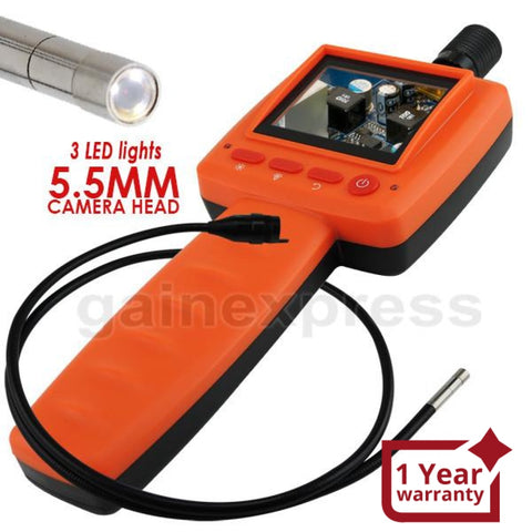 C0599D-5530L1 Handheld 2.4 inch Video Inspection 5.5mm Camera Endoscope 1M Cable 3 LED Borescope - Gain Express