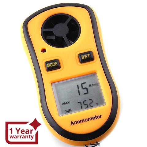 Gm8908 Pocket-Size Digital Thermo Anemometer Handheld Air Wind Flow Velocity Speed Meter Testing
