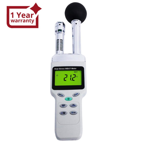 Tm-188 Heat Stress Wbgt Meter Wet Bulb Globe Temperature Humidity Dew Point Thermometer