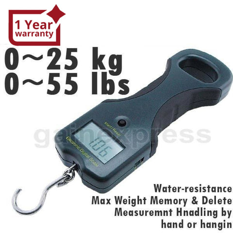 Ws-815 Digital 25Kg/55Lb Lcd Fish Weighing Scale W/ Rubber Side Handle