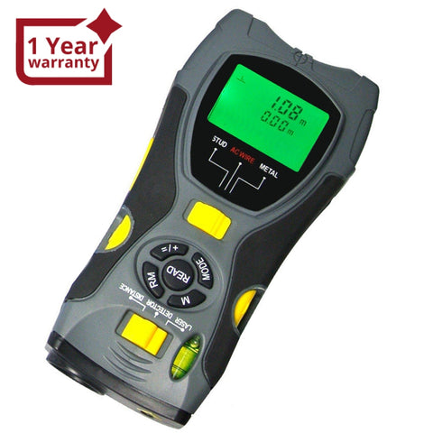 CK-109G 5in1 Digital Distance Meter Stud Scanner Metal Live Wire Detector & Laser Marker CE Marking - Gain Express