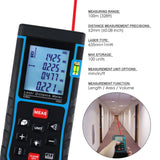 X01Rz-E100 Laser Distance 100 Meter Area Volume Pythagorean W/ Spirit Level Measurer Range Finder