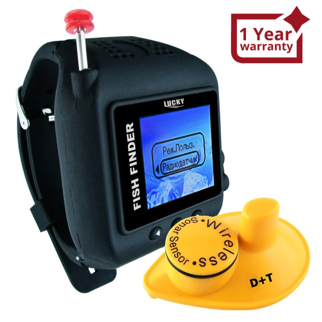 FF-518RU Russian Version WRIST WATCH Wireless 45M FISH FINDER CLOCK Mode  Colored LCD Display