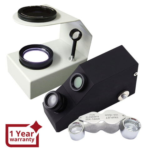 Set A Gem Refractometer + Desktop Polariscope Loupe Identification Toolkit Set