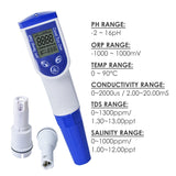 M0199720 6-In-1 Water Tester Combo Pen Ph Orp Ec Tds Salinity & Temperature Quality Meters