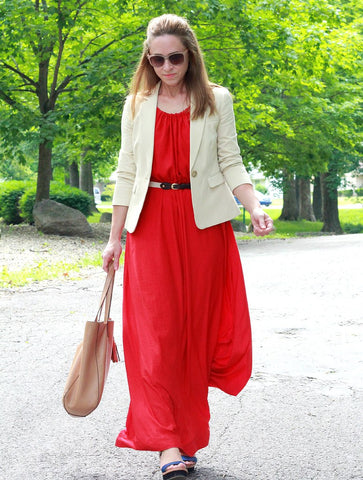 maxi dress with blazer summer outfit for office