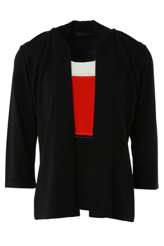 Contrast Panel Mock Cardigan