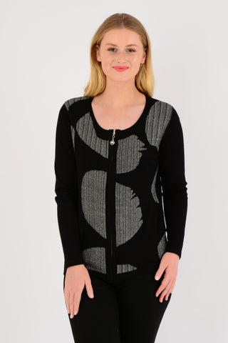 Abstract Double Knit Cardigan