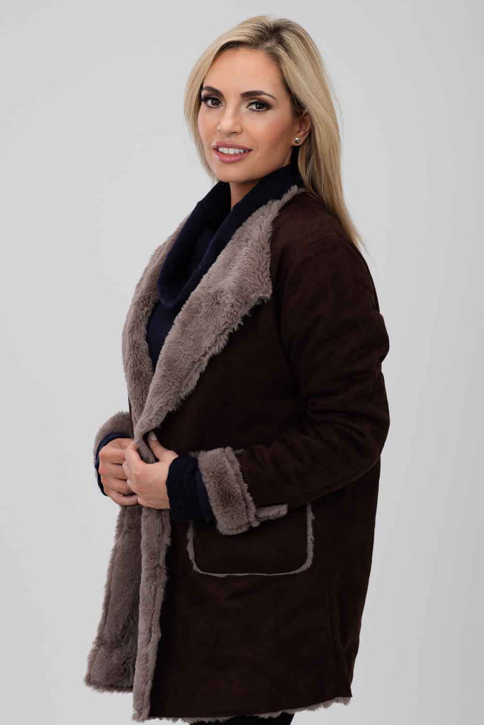 Suedette Coat- Brown