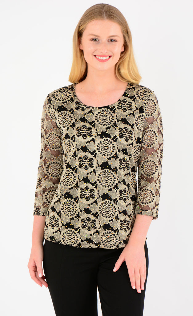 Gold & Black Lace Top