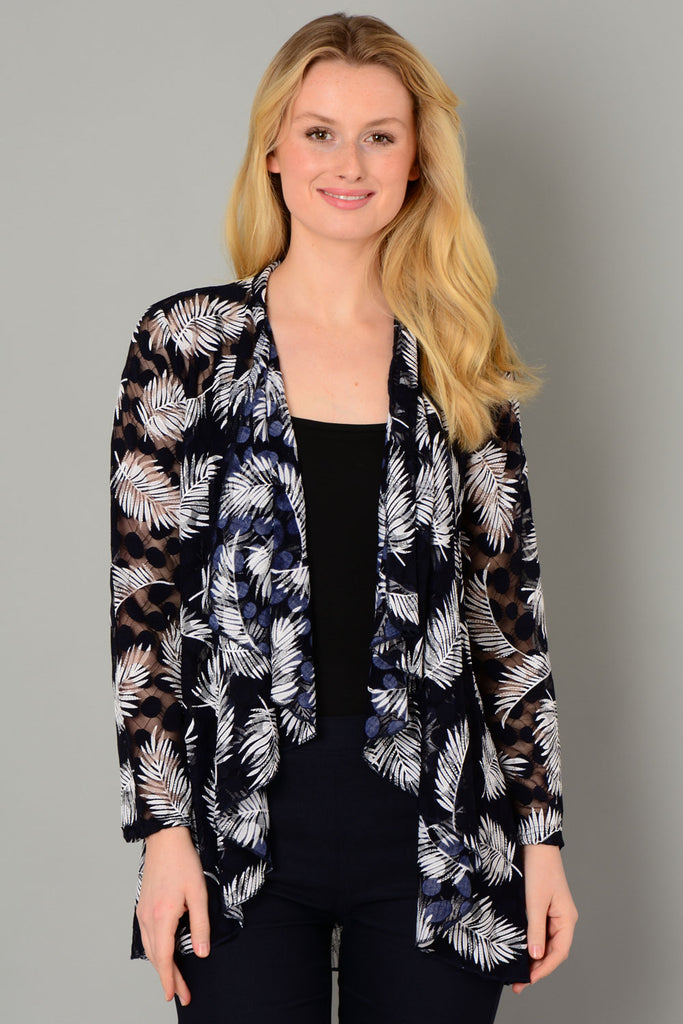 Navy Leaf & Spot Cardigan