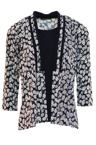 Leaf Pattern Mock Cardigan