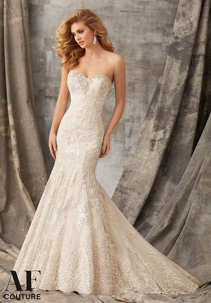 Angelina Faccenda by Mori Lee Style 1353 - Size 10 Carmel Silver Only