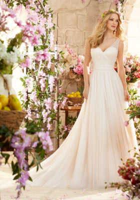 Deep V Back Soft Net Wedding Dress Designed by Madeline Gardner.