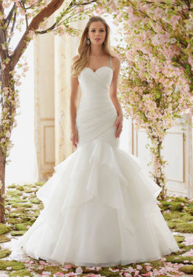 Morilee Bridal Madeline Gardner Crystal Beaded Straps on Organza Wedding Dress sweetheart