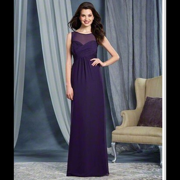 Alfred Angelo Bridesmaid Dresses, 2016. Draped chiffon floor length gown with a tie-back illusion yoke neckline and a slightly shirred A-line skirt.