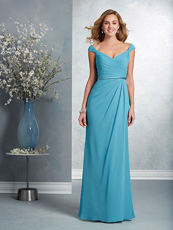 Alfred Angelo Bridesmaid Dresses, Spring 2017. Floor length chiffon bridesmaid dress with a V-shaped neckline, shirred tip of the shoulder straps and a draped surplice bodice. The fluted skirt has an asymmetric draped overlay and is finished at the natural waist with a satin waistband.
