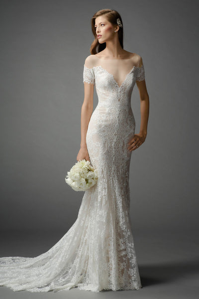 Sexy off-the-shoulder, fit-and-flare gown in Ballerina Lace with a deep V-neckline and contrast lining. Sweep Train