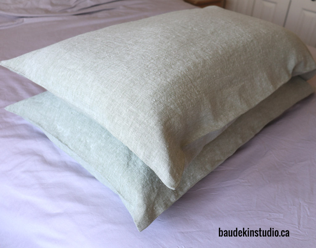 pillowcases made from Belgian tumbled linen fabric