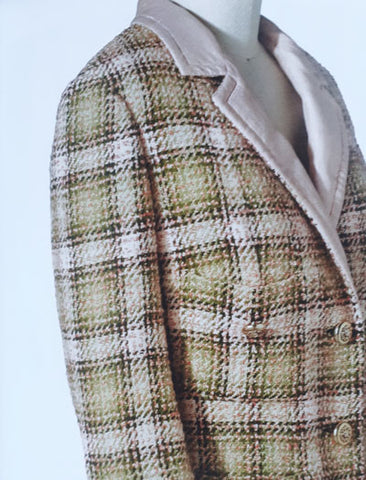 Tweed jacket with check pattern