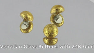 Venetian glass button with gold video