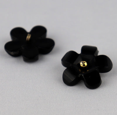Black flower button with metal bead