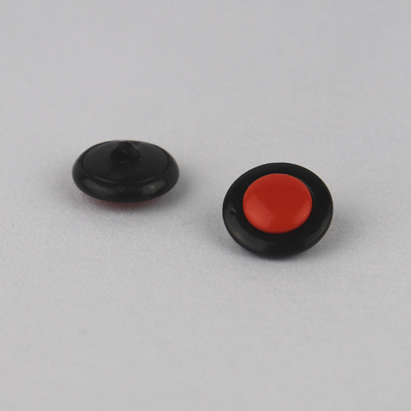 Black orange button with shank