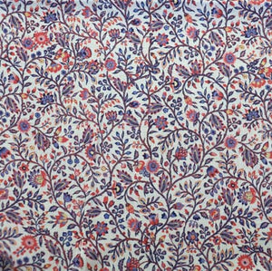 printed cotton fabric  leaves and flowers