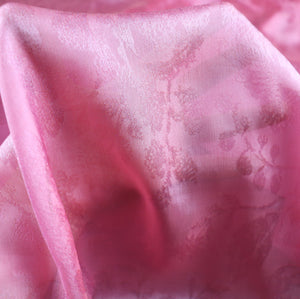 Pink silk jacquard fabric, pure 100% silk