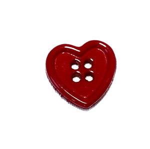Red heart shaped plastic button from Italy