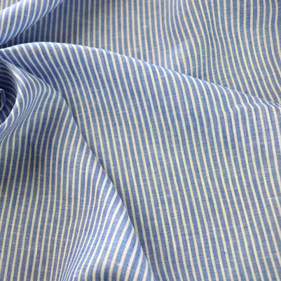 blue linen fabric with stripe pattern