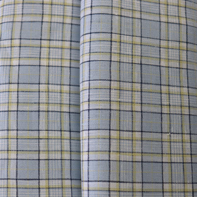 blue linen fabric with checks pattern