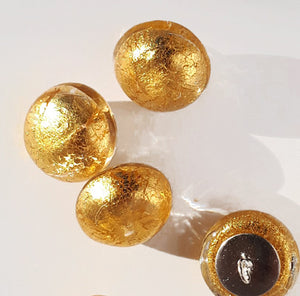 gold glass buttons, shank buttons medium size