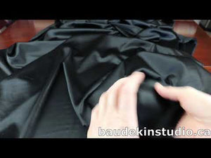 YouTube video demonstrating black stretch silk charmeuse fabric