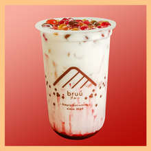 Load image into Gallery viewer, Strawberry Marble Latte with Rainbow bubble