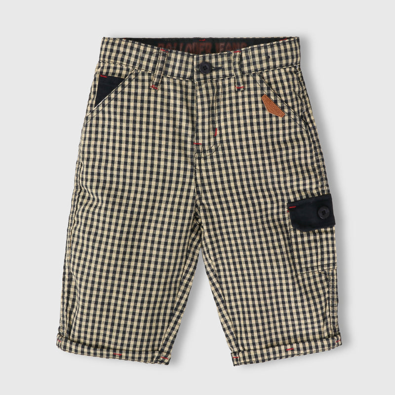 Beige Checker Shorts