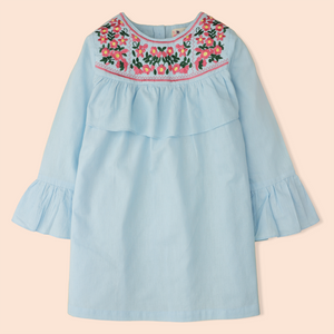 Blue Ruffle Yoke Top